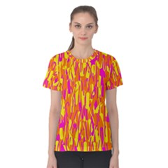 Pink and yellow pattern Women s Cotton Tee