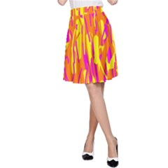Pink and yellow pattern A-Line Skirt