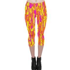 Pink and yellow pattern Capri Leggings
