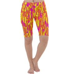 Pink and yellow pattern Cropped Leggings