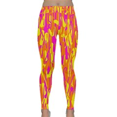 Pink and yellow pattern Yoga Leggings