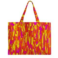 Pink and yellow pattern Zipper Mini Tote Bag