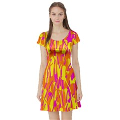 Pink and yellow pattern Short Sleeve Skater Dress