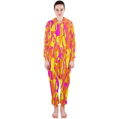 Pink and yellow pattern Hooded Jumpsuit (Ladies)