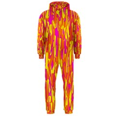 Pink and yellow pattern Hooded Jumpsuit (Men)