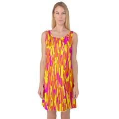 Pink and yellow pattern Sleeveless Satin Nightdress