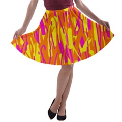 Pink and yellow pattern A-line Skater Skirt