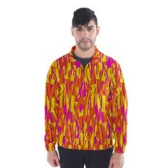 Pink and yellow pattern Wind Breaker (Men)