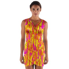 Pink and yellow pattern Wrap Front Bodycon Dress