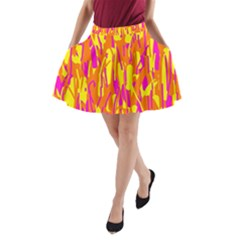 Pink And Yellow Pattern A Line Pocket Skirt