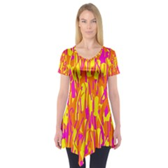 Pink and yellow pattern Short Sleeve Tunic