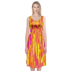 Pink And Yellow Pattern Midi Sleeveless Dress