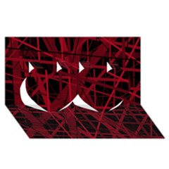 Black and red pattern Twin Hearts 3D Greeting Card (8x4)