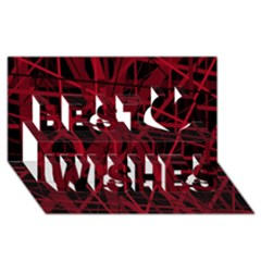 Black and red pattern Best Wish 3D Greeting Card (8x4)
