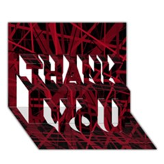 Black and red pattern THANK YOU 3D Greeting Card (7x5)