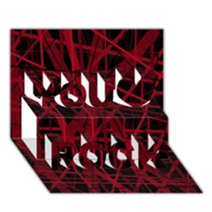 Black and red pattern You Rock 3D Greeting Card (7x5)