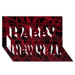 Black and red pattern Happy New Year 3D Greeting Card (8x4)