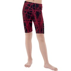 Black and red pattern Kid s Mid Length Swim Shorts