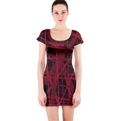 Black and red pattern Short Sleeve Bodycon Dress