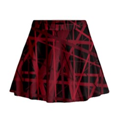 Black And Red Pattern Mini Flare Skirt
