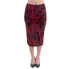 Black And Red Pattern Midi Pencil Skirt