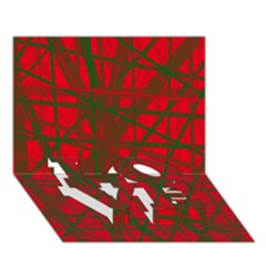 Red Pattern Love Bottom 3d Greeting Card (7x5)