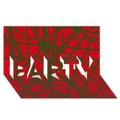 Red pattern PARTY 3D Greeting Card (8x4)