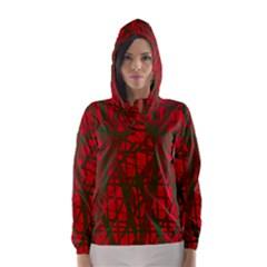 Red pattern Hooded Wind Breaker (Women)