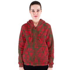 Red pattern Women s Zipper Hoodie