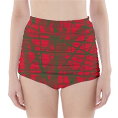 Red pattern High-Waisted Bikini Bottoms