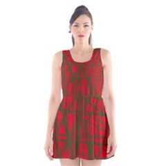 Red pattern Scoop Neck Skater Dress