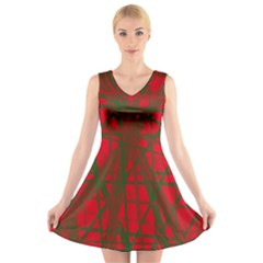 Red pattern V-Neck Sleeveless Skater Dress