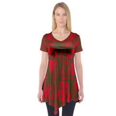 Red Pattern Short Sleeve Tunic