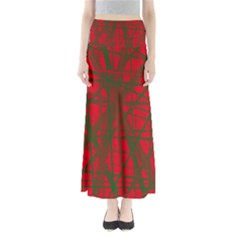 Red pattern Maxi Skirts