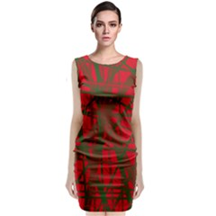Red pattern Classic Sleeveless Midi Dress