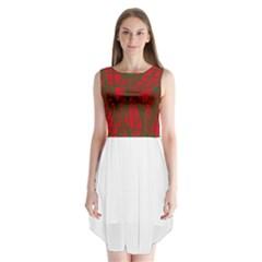 Red pattern Sleeveless Chiffon Dress