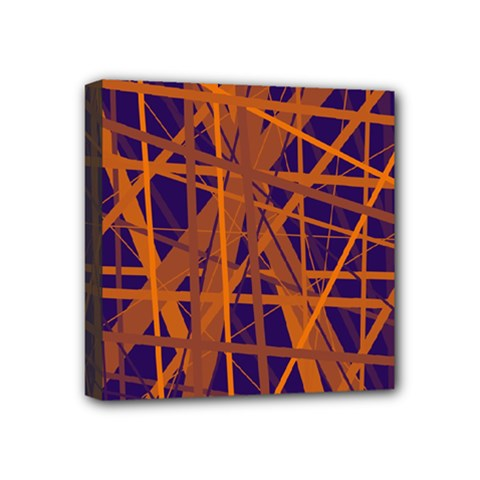 Blue and orange pattern Mini Canvas 4  x 4