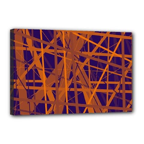 Blue and orange pattern Canvas 18  x 12