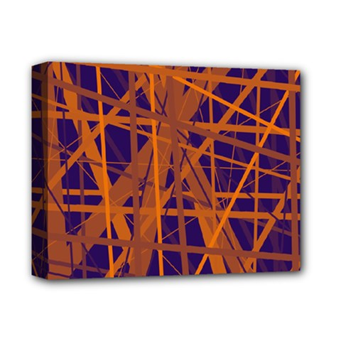 Blue and orange pattern Deluxe Canvas 14  x 11