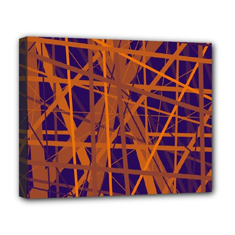 Blue and orange pattern Deluxe Canvas 20  x 16