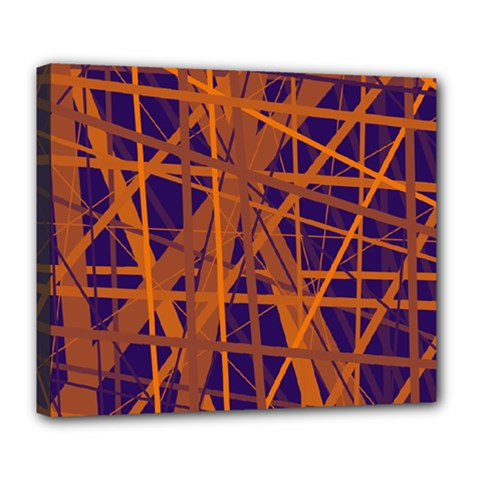 Blue and orange pattern Deluxe Canvas 24  x 20