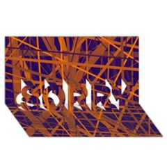 Blue and orange pattern SORRY 3D Greeting Card (8x4)