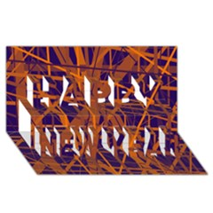 Blue and orange pattern Happy New Year 3D Greeting Card (8x4)