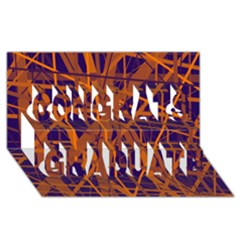 Blue and orange pattern Congrats Graduate 3D Greeting Card (8x4)