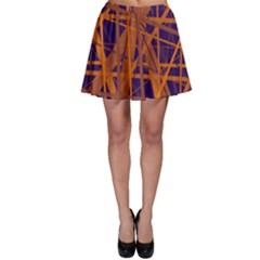 Blue and orange pattern Skater Skirt