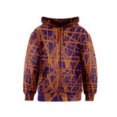 Blue and orange pattern Kids  Zipper Hoodie