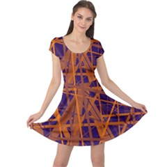 Blue and orange pattern Cap Sleeve Dresses