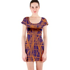 Blue and orange pattern Short Sleeve Bodycon Dress