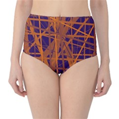 Blue and orange pattern High-Waist Bikini Bottoms