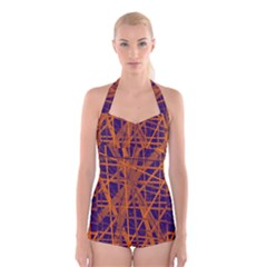 Blue and orange pattern Boyleg Halter Swimsuit